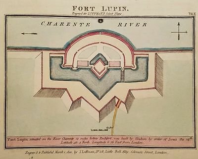 Antique Map FORT LUPIN France Rochfort Charente River Hand Colored Luffman 1801