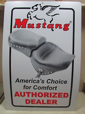 2 Pcs. Older 2 Sided Mustang Motorcycle Seat Authorized Dealer Signs