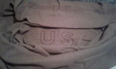 Civil War Reproduction Federal US Blanket 84 x 66 Brown and Heavy