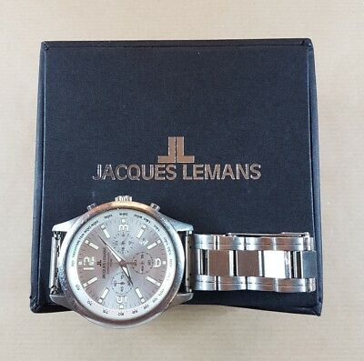 Jacques Lemans Chronograph 100M - 1-1073 - Quartz - Herrenarmbanduhr mit Box