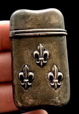 Fleurs De Lis Hallmarked Antique Sterling Silver Match Safe 23.2 Grams D670
