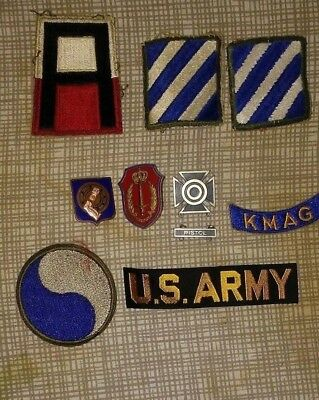 Nice Lot of 9 Korean War  Buttons and Badges Army