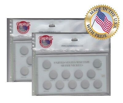 Capital Holder Display Case Wartime Silver Nickels Coins 1942 1945 Meteor 4x7