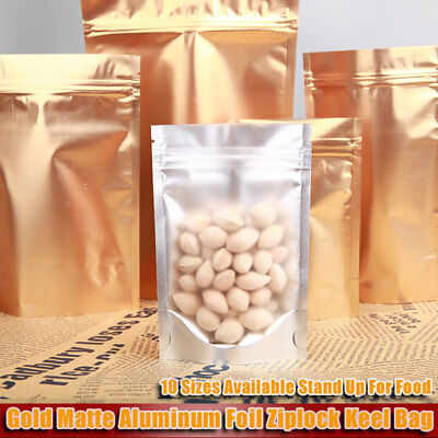Matte Gold Aluminum Foil Ziplock Bag Clear Front Stand Up Resealable Food Pouch