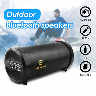 Bluetooth Speaker Loud Bazooka Hi-Fi Super Bass Outdoor Speakers W/ AUX/FM Radio