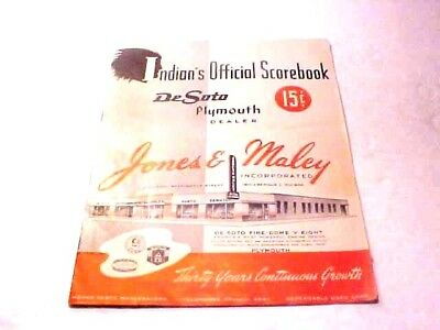 1952  Jones & Malley  Desoto Plymouth Official Scorebook  Indianapolis Indiana