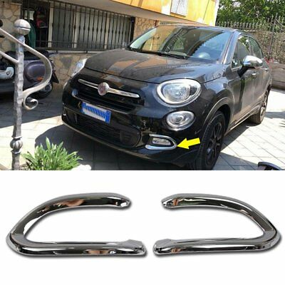 Fit For Fiat 500X POP/LOUNGE 2016-2018 Front  Fog Light Lamp Cover Trims Chrome