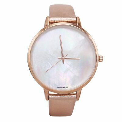 Exquisite Fashion Watch with Mother of Pearl Face and Leather Band (Rose Gold)