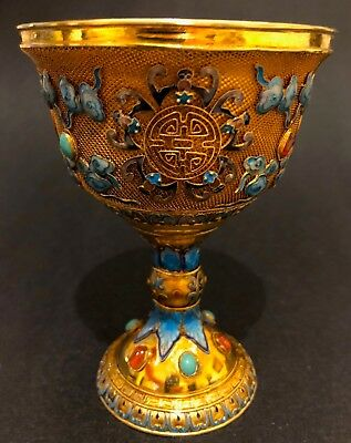 Amazing Antique (C1910) Chinese Gilded and Enameled 950 Sterling Silver Chalice