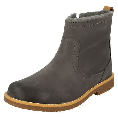 Girls Clarks Comet Frost Grey Leather Casual Boots - F & G Fittings