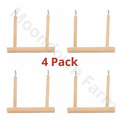 4 Pack NATURAL WOOD BIRD SWING / TRAPEZE FOR BUDGIE, CANARY FINCH CAGE BIRD TOY