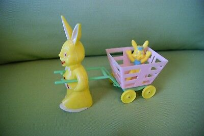 Vintage Hard Plastic Easter Rabbit Pulling Baby Bunny In A Cart