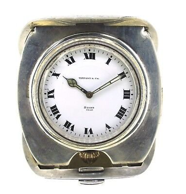 Antique Tiffany & Co. Sterling Silver 8 Day Travel Clock