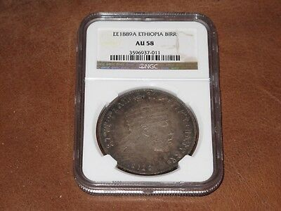 Ee 1889A (1897) Ethiopia Large 1 Birr Coin Graded By Ngc Au58 ,nicely Toned