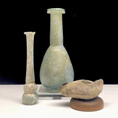 Ancient Roman Glass Bottle, Vial, & Clay Oil Lamp GIFT SET