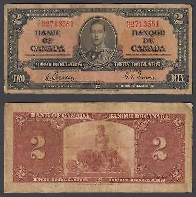 Canada 2 Dollars 1937 (F) Condition Banknote P-59b KGVI