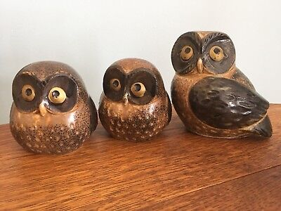 "3 Trio of OMC Japan ceramic Owls 3""-4"""
