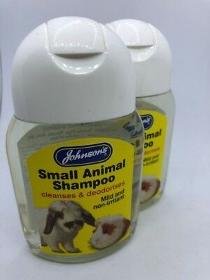 2 xJohnsons Small Animal Shampoo deodorises 125 ml Rabbit Guinea Pig Rat Ferret