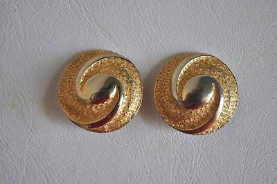 Vintage Puccini Gold-tone Earrings Clip-on Round Circle Silver Italian Italy