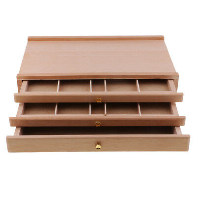 3 Drawer Wood Pastel Storage Box Wooden Easel Box 15 x 9 x 3 inch Art Supply