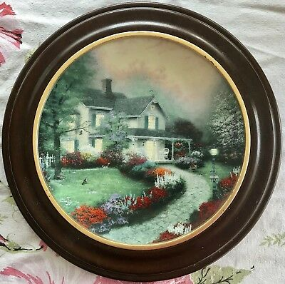 "Thomas Kinkade ""Home Sweet Home"" Knowles China Co. In Wood Frame Plate Numbered."