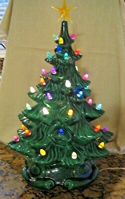 Vintage ceramic lighted christmas tree with base 17 Tall
