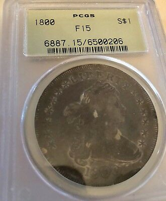 1800 Bust Dollar PCGS F 15 Old Green Label  Coin Without A Doubt Is Undergraded.