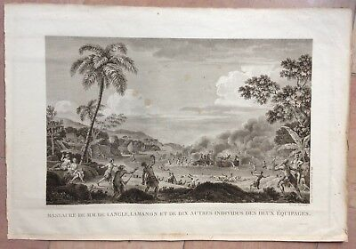 Death Of De Langle Maouna Samoa Island 1797 La Perouse Large Engraved View