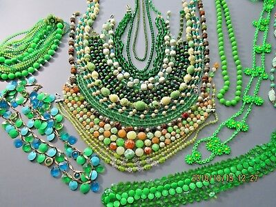 Vintage Lot of Beaded Necklaces ~ 17 Pretty Green Beaded Necklaces