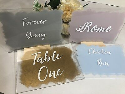 Painted Clear Acrylic A5 Wedding Table Number / Name with Wooden Stand