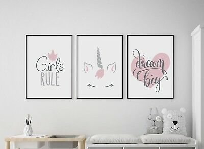 Set of 3 Girls Rule Unicorn Dream Big Pink Prints Nursery Kids Room Wall Art