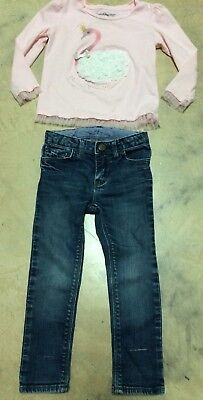 Baby GAP Girls Size 3 Years 3T Blue Skinny Jeans Long Sleeve Pink Shirt lot of 2