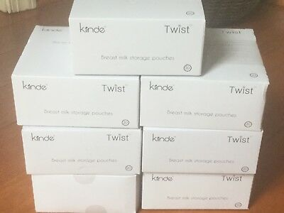 Kiinde Breast Milk Storage Pouches Twist 7 Boxes-20 Ct. Each 6 oz. New Sealed