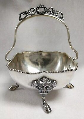 Antique Benedict Mfg Co Silverplate Gargoyle Head Footed Bowl with Handle