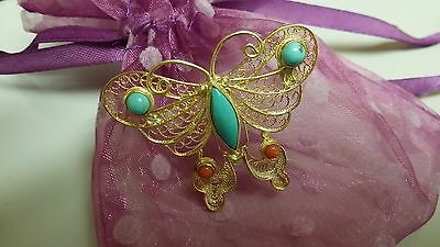 Chinese Vintage Silver Gold Plated Butterfly Brooch with Turquoise+Coral