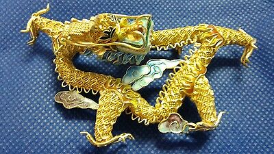Vintage Chinese Silver Gold Plated Giant Dragon Pin