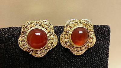 Vintage Chinese Silver Gold Plated Agate Clip On Earrings