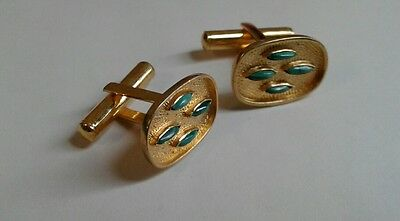 Vintage Chinese Silver Gold plated CuffLinks with Malachite inlaid