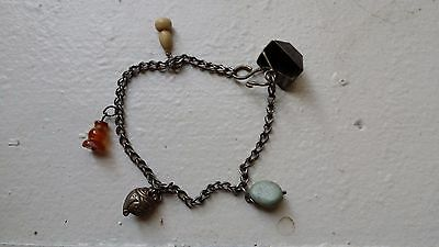 Antique Chinese Silver chain with Silver/ Agate/ Bone Pendants attached - 2