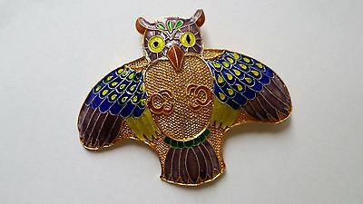 Vintage Chinese Silver Gold Plated  Enamel Owl Brooch