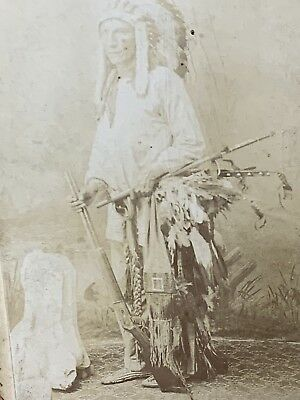 NATIVE AMERICAN SIOUX INDIAN CHIEF Turning Bear CABINET CARD Antique PHOTO 1891