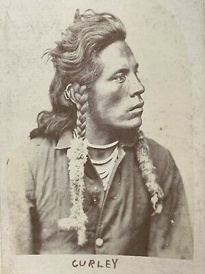 NATIVE AMERICAN Crow INDIAN Scout Curley CABINET CARD PHOTO 1891 Custer Antique