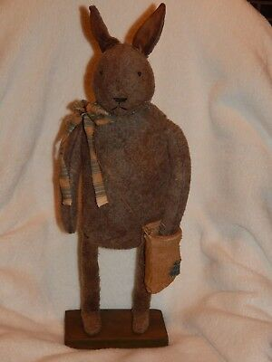 Primitive Standing Bunny Rabbit w/Neck Scarf & Bag Vintage?