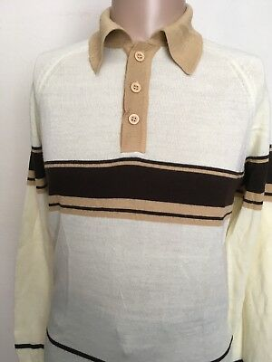 VTG 80s ~ SUPREME L/S STRIPED POLO ~ Cream/Beige/Brown ~ Raglan Cut ~ Medium