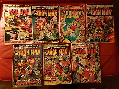 Marvel - lot of 7 Iron Man comics #51 #54 #57 #58 #59 #62 #63 From Poor to Good+