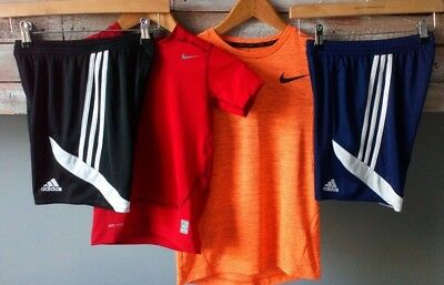 Boys Adidas And Nike Sports Bundle Shorts And Tops Age 10-12