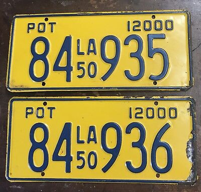 1950 Louisiana Sequential Pot Truck License Plates