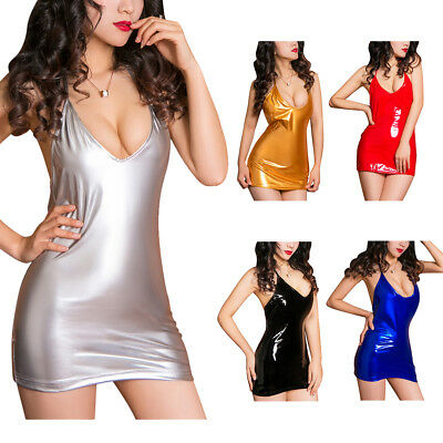 Sexy Damen Leder Optik Glanz Wetlook Kleid Bodycon Minikleid Tanz Gogo Clubwear