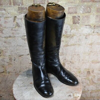 Vintage Antique Leather Gentlemen's Riding Boots Wooden Trees Office