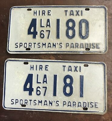 1967 Louisiana Hire Taxi Sequential License Plates